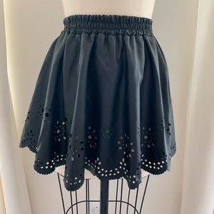 Black Faux Leather Skirt with Laser Cut Outs